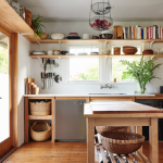 Kitchen, Wooden Floor, Wooden Table Counter, Wooden Island With Shelves, Wooden Open Shelves
