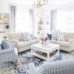 Living Room, Blue Pattterned Rug, Blue White Striped Chair, White Wooden Coffee Table, Off White Sofa, White Wall, White Shelves
