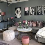 Living Room, Wooden Floor, Grey Sofa, Pink Ottoman, White Tufted Ottoman, Black Console Table