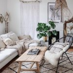 Living Room, Wooden Floor, White Rug, Black Rattan Chair, White Sofa, Wooden Coffee Table, Rattan Pendant