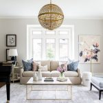 Living Room, Wooden Floor, White Sofa, White Marble Coffee Table, Golden Pendant, Leather Chair, White Floor Lamp