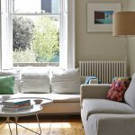 Living Room, Wooden Floor, White Tray Coffee Table, Grey Sofa, White Sofa