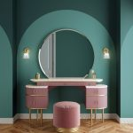 Make Up Station, Wooden Floor, Pink Cabinet, Green Wall, Sconces, Pink Stool