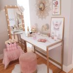 Make Up Station, Wooden Floor, White Table, Golden Legs, Cream Wall, Pink Velvet Stool, Stand Mirror
