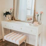 Make Up Station, Wooden Floor, White Table With Drawers, Golden Framed Mirror, Pink Stool