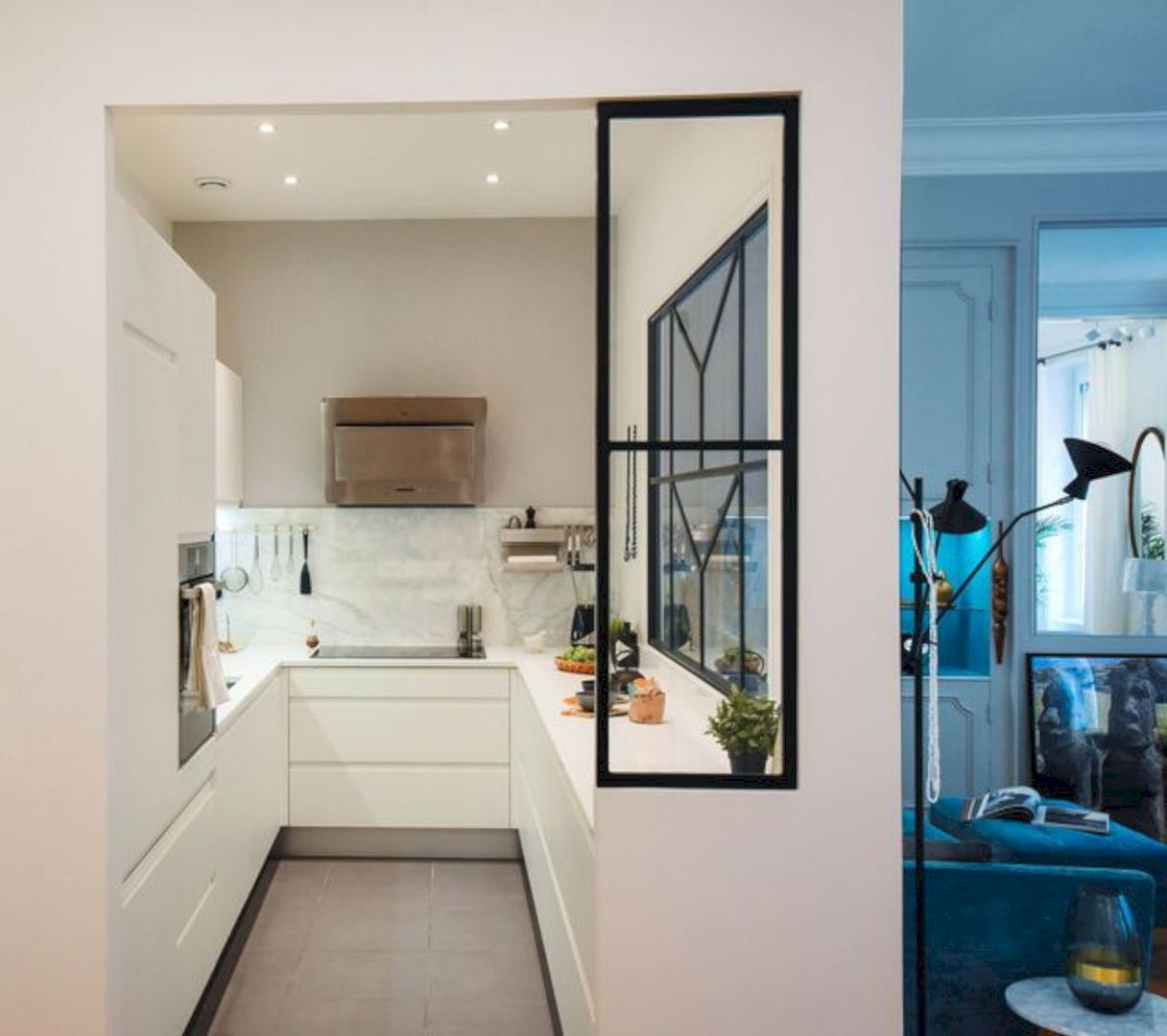 narrow and small kitchen, white bottom cabinet, white wall, white cabinet