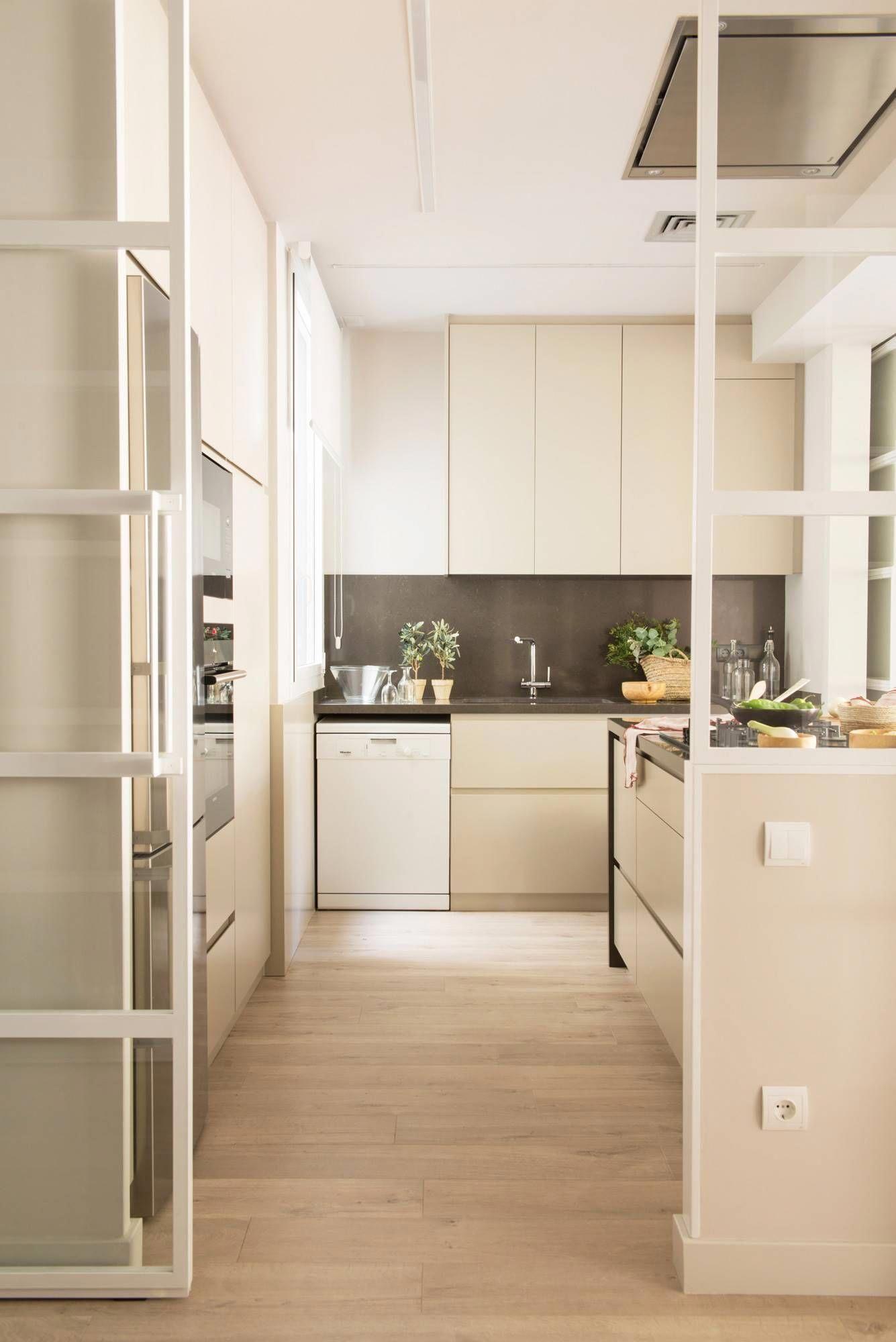 narrow kitchen, wooden floor, soft brown cabinet, dark brown backsplash, dark brown counter top, white wall, partition