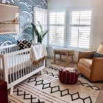 Nursery, Brown Floor, Brown Leather Chair, Brown Leather Ottoman, White Wooden Crib, Rattan Crib