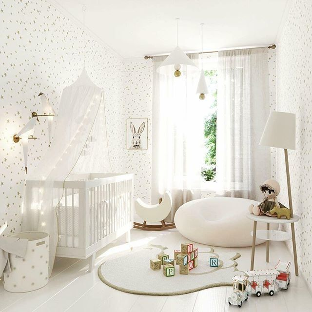 nursery, white wooden floor, white bean bag, white wooden crib, white floor lamp, white pendants, white curtain, white rug, white touys