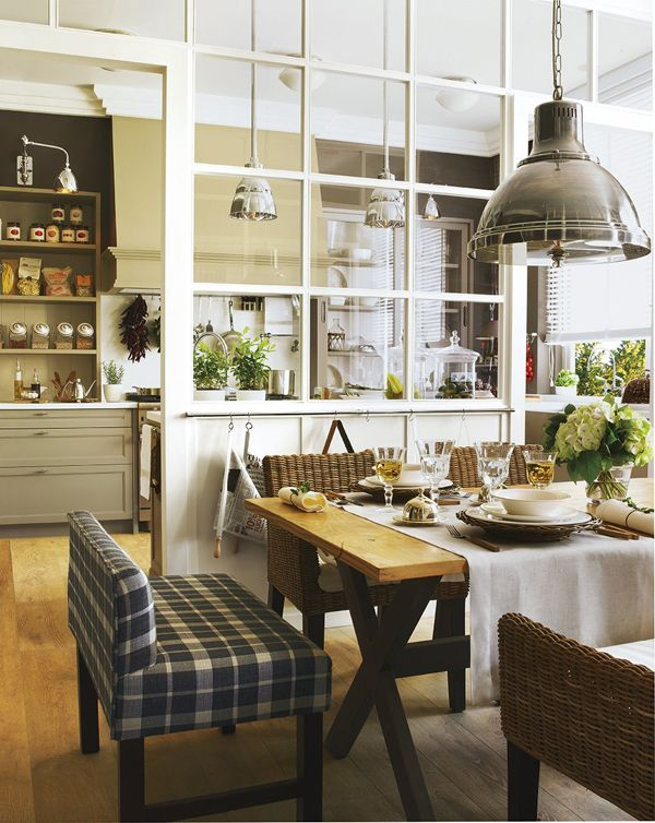 open room, wooden floor, brown wall, glass partition, wooden table, plaid sofa, pendants, green cabinet