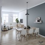 Open Space, Wooden Floor, Grey Wall, White Wall, White Sofa, Wooden Floating Cabinet, White Modern Chairs, Black Pendant