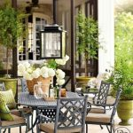 Outdoor, Brown Floor, White Wall, Black Ornamented Ironed Chairs, Iron Table
