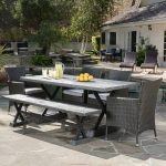 Outdoor Dining Room, Black Table, Black Bench, Black Rattan Chairs, Black Patio Floor