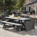 Outdoor Dining Room, Black Table, Black Bench, Black Rattan Chairs, Black Patio Floor