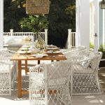 Outdoor Dining, Wooden Floor, White Rug, White Rattan Chairs, Wooden Table, Ratan Pendant