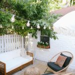 Patio, Concrete Floor, Wooden Bench White Cushion, Rattan Chairs, Rattan Coffee Table