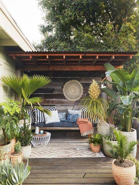 patio, wooden floor, wooden wall, wooden bench, cushion