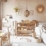 Playroom, White Floor, White Wall, Wooden Shelves, Rattan Pendant, White Sofa, Wooden Table And Chairs, Rattan Basket, Wooden Yors