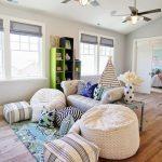 Playroom, Wooden Floor, White Sofa, Beanbags, Tent, Shelves, Ceiling Fan