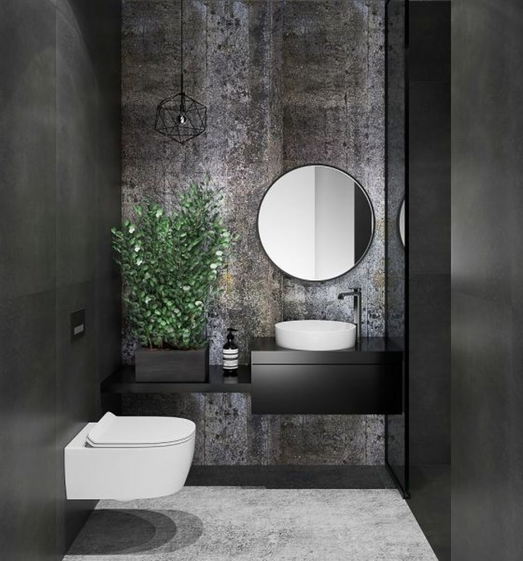 powder room, black wall, black accent wall, black floating, white round sink, round mirror, geometrical lined pendant, white floating toilet
