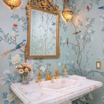 Powder Room, Blue Wallpaper, Golden Framed Mirror, Golden Sconces, White Marble Sink