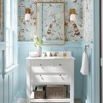 Powder Room, Grey Floor Tiles, Blue Wainscoting, Blue Wallpaper, Golden Mirror, White Wooden Cabinet