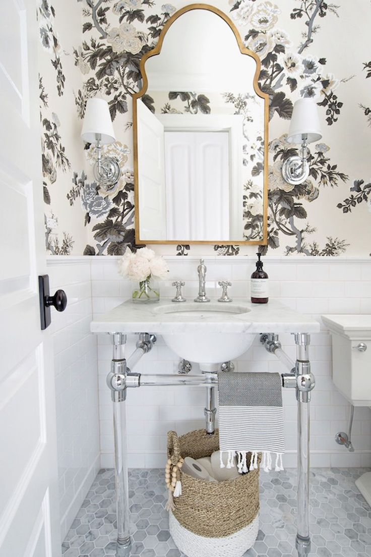 powder room, white tiny hexagonal floor tiles, white subway wall tiles, powder wallpaper, white marble sink, white toilet