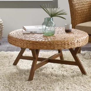rattan round coffee table with wooden legs