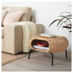 Rattan Side Table With Round Drawer