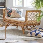 Rattan Sofa With Details On The Armrest, No Back, White Cushion