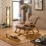 Rocking Chair, Brown Cushion, Wooden Material, Wooden Floor, Brown Rug