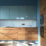 Small Kitchen, Hexagonal Floor Tiles, Blue Gloss Cabinet, White Marble Backsplash, Wooden Bottom Cabinet, Blue Wall, Wooden Cabinet