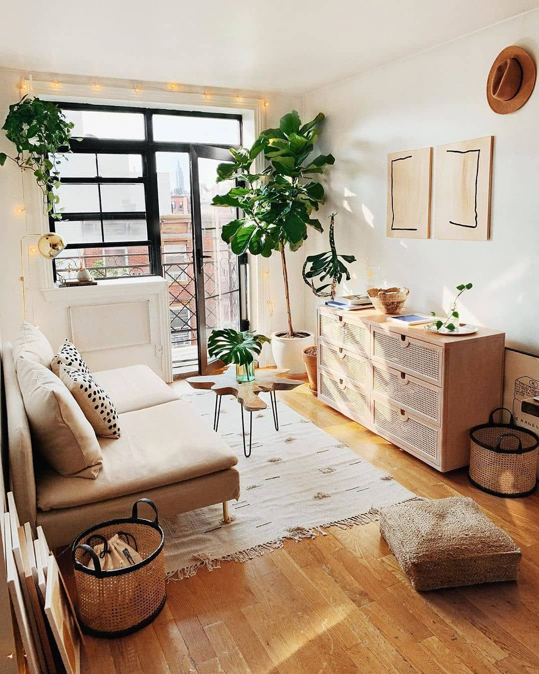 small living room, wooden floor, white wall, rattan cabinet, brown sofa, rug, glass window and door