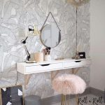 White Black Wallpaper, White Floating Cabinet, Pink Gur Stool With Golden Legs, Round Mirror, Baloon