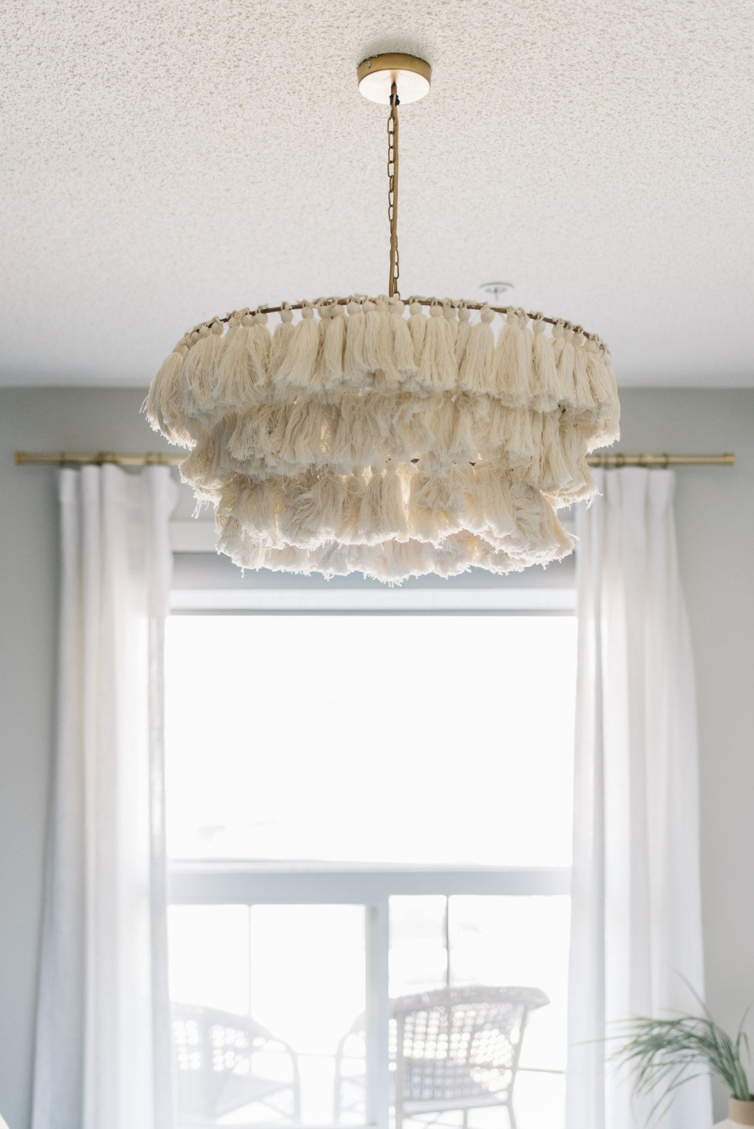 white fringe chandelier