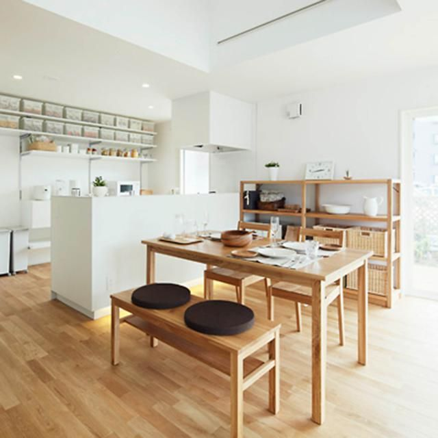 white kitchen,white cabinet, wooden shelves, wooden dining table, wooden bench, wooden chair