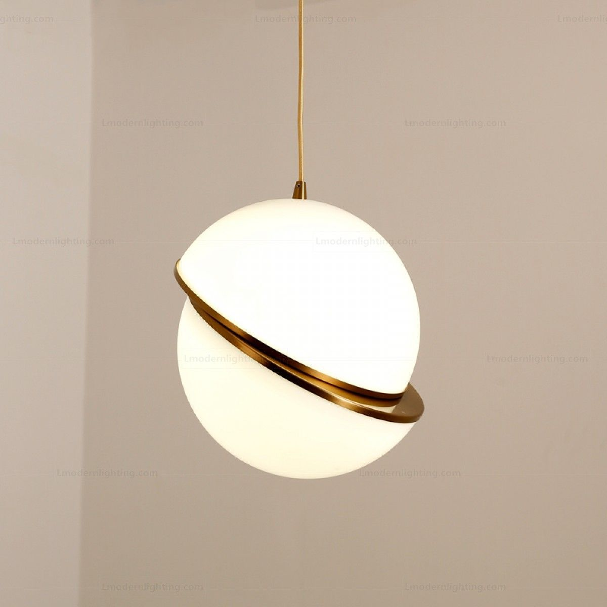 white pendant with angled half cut in the middle with golden accents and rod