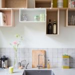 Wooden Floating Boxes Arrange Togetehr, White Wall