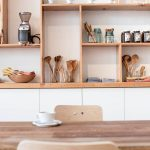 Wooden Open Shelves, White Cabinet, White Wall