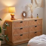 Wooden Rattan Cabinet With Six Draeers, Seamless Floor