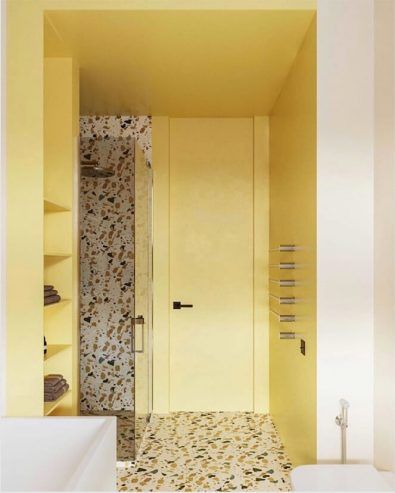 yellow bathroom, white wall, yellow wall, marble floor, marble wall in the shower, white sink white tub