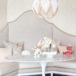 Banquette, Grey Corner Sofa, Grey Wall, White Marble Top Table, Pretty Pendant