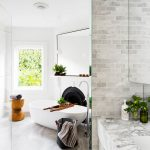 Bathroom, Grey Marble Floor, White Wall, White Tub, Big Rectangular Mirror, Grey Wall Tiles, Grey Marble Vanity