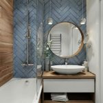 Bathroom Vanity, Blue Herringbone Tiles, Floating Vanity, White Sink, Round Mirror, Pendants