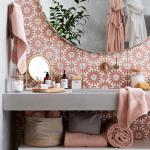 Bathroom Vanity, Flowery Wall Tiles, Golden Faucet, Grey Floating Vanity, Round Mirror