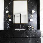 Bathroom, White Wall, Black Marble Wall, Black Marble Cabinet, Black Marble Top, Black Marble Accent Wall, Unique Sconce, Mirror
