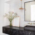 Bathroom, White Wall, White Wall Tiles, Black Marble Floating Vanity, Black Sink, Pendant, Square Mirror