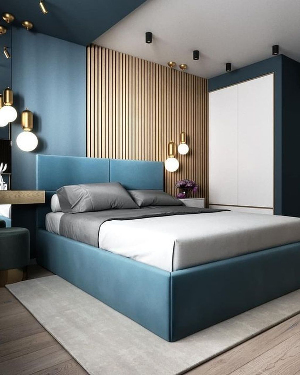 bedroom, grey wooden floor, blue wall, white wall, wooden grid wall, blue headboard, pendants, blue side table, white side cabinet