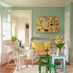 Bedroom, Wooden Floor, Blue Wooden Wall, White Wooden Ceiling, White Rattan Chair, Green Wooden Stools