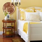 Bedroom, Wooden Floor, Light Yellow Wall, White Bed Platform, Wooden Round Side Shelves